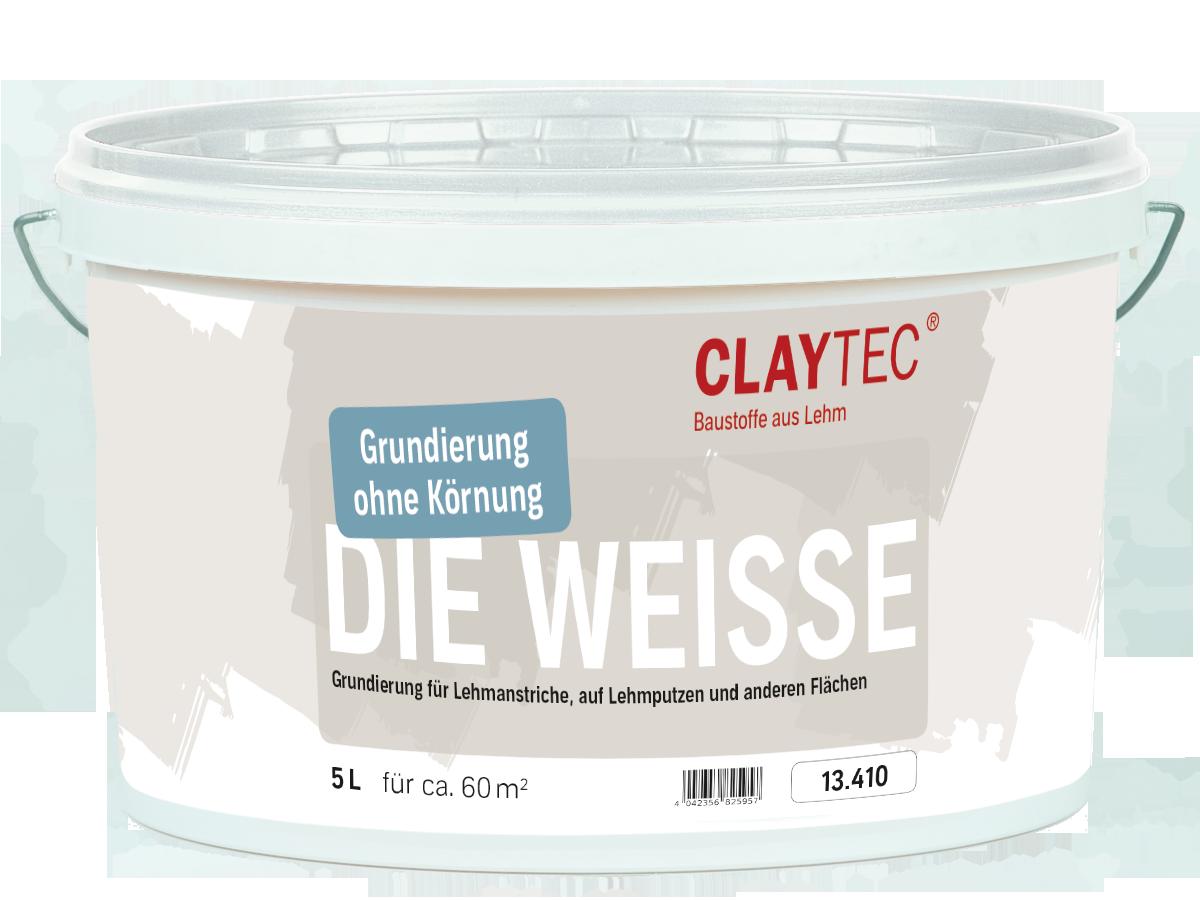 """Claytec Grundierung, """" DIE WEISSE"""" fein, 10 LIter"""