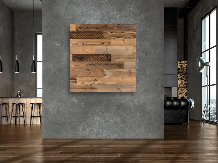 Altholz Wandverkleidung, 3D Riemchen, Altholz-Verblender  10cm x 119cm
