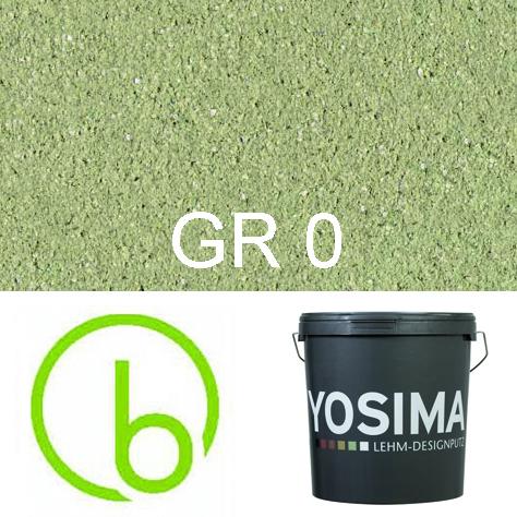 Yosima Lehmedelputz, Grün 0, Grundfarbe,  Designputz von Claytec, alle Strukturen und Gebinde