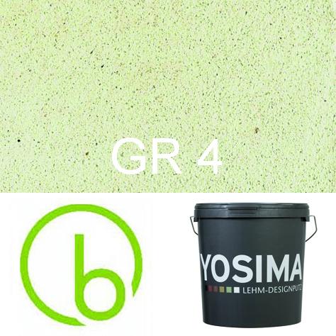 Yosima Lehmedelputz, Grün 4, Grundfarbe,  Designputz von Claytec, alle Strukturen und Gebinde