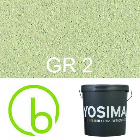 Yosima Lehmedelputz, Grün 2, Grundfarbe,  Designputz von Claytec, alle Strukturen und Gebinde