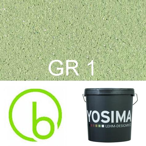 Yosima Lehmedelputz, Grün 1, Grundfarbe,  Designputz von Claytec, alle Strukturen und Gebinde