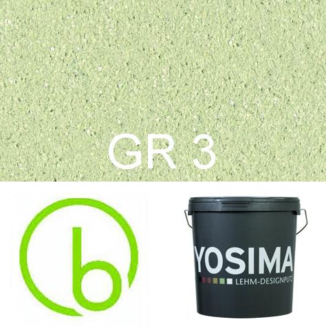 Yosima Lehmedelputz, Grün 3, Grundfarbe,  Designputz von Claytec, alle Strukturen und Gebinde